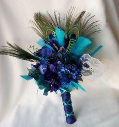Royal blue Peacock Bridal Bouquet Turquoise Destination wedding custom for Tessa