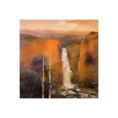 NOVICA Painting of Waterfall in Ocher Landscape in Peru Signed Art (6,825 SAR) ❤ liked on Polyvore featuring home, home decor, wall art, backgrounds, art, paintings, scenery, expressionist paintings, novica home decor and fall home decor