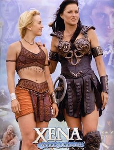 """Xena -- Warrior Princess"" -- Renee O'Connor as Gabrielle and Lucy Lawless as Xena Dvd Series, Paddy Kelly, Xena Warrior Princess, Old Tv Shows, Classic Tv, Sexy Women, Celebs, Actresses, Lady"