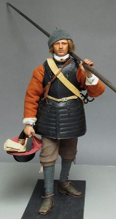 Tony Barton's scale Pikeman , The Earl of Essex's Regiment Thirty Years' War, Armor Clothing, Military Action Figures, Landsknecht, Royal Marines, Medieval Costume, Arm Armor, British Army, British History