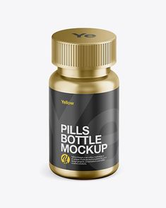 Metallic Pills Bottle Mockup - Front View (High-Angle Shot)
