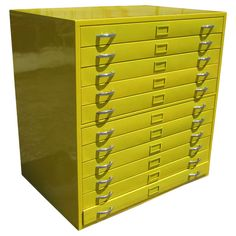 Yellow Architectural Drafting Flat File Cabinet-Restored