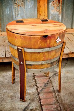 Wine barrel and whiskey barrel beverage cooler.  Made by King Barrel