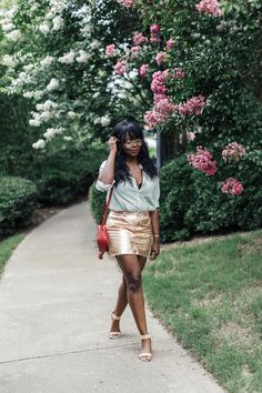 Rose Gold Metallic Mini Skirt | MILLENNIELLE Fashion Blog