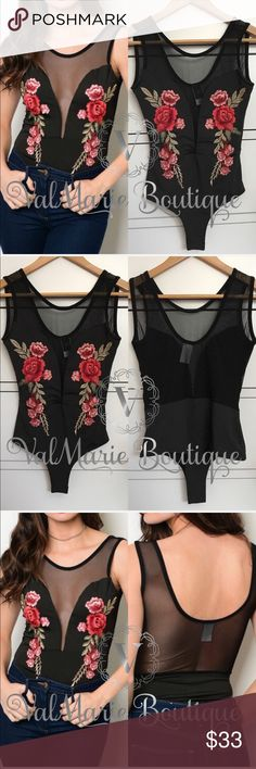 "Rose Embroidered Mesh Bodysuit 🇺🇸MADE IN USA - approx 29"" long. Super stretchy gorgeous rose embroidered bodysuit. Get this hot trend now! 95% poly, 5% spandex. Has snap button closure on bottom. Gorgeous mesh details. S(2-4) M(6-8) L(10-12) slim fitted. ValMarie Pants Jumpsuits & Rompers"