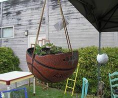 Basketball hanging planter.