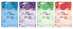 All four beautiful covers of the e-book serialization of A Place for Us. It's being released in 4 parts, one part a month starting from 31st August. Very exciting! I love the different colours.