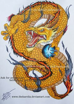 Golden Dragon tattoo by TheKarelia on DeviantArt - Golden Dragon tattoo by TheK. Golden Dragon Tattoo, Dragon Tattoo Drawing, Small Dragon Tattoos, Dragon Sleeve Tattoos, Japanese Dragon Tattoos, Japanese Tattoo Art, Dragon Tattoo Designs, Dragon Images, Dragon Pictures
