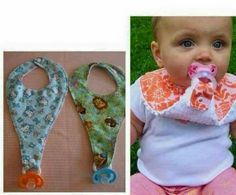 Bib/pacie Would also be great for putting their medicine in the pacifier. If they spit it out or spit up, the bib is there to catch it.