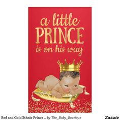 Red and Gold Ethnic Prince Baby Shower Banner