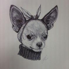 mydrawing chiwawa chihuahua sketch ink