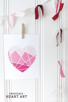 Free Printable Valentine's Day Art. Ombre. Geometric.