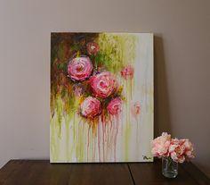 flor de pintura pintura original arte de la pared por artbyoak1
