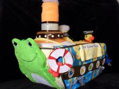 Boat Diaper Cake - Rubber Duckie Diaper Boat via Etsy.