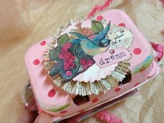 totally sweet!  Love the pink with red polka dots, the text paper rosette, the bird, and the sentiment