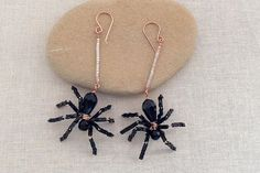beaded spider earrings