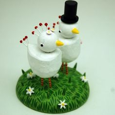 Chicken Wedding Cake Topper by bunnywithatoolbelt on Etsy, $120.00.  Think I could talk John into these? Lol.