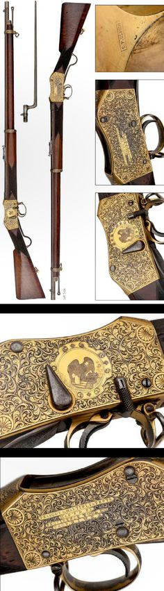 Peabody Martini Exhibition Engraved in gold and silver with bayonet. By Providence Tool Company R.I., USA.Rifle was made for the Philadelphia Centennial in 1876, and the rifle falls in the category of the finest Ulrich-engraved Peabody rifle known.