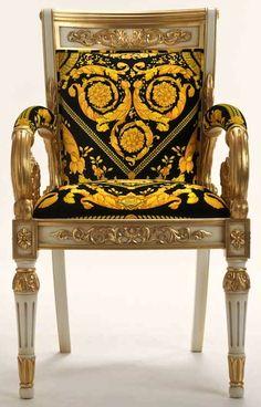 Versace Home: Vanitas Armchair Black Casa Versace, Versace Home, Gianni Versace, Versace Mansion, Donatella Versace, Versace Furniture, Royal Chair, Italian Tiles, Luxury Penthouse