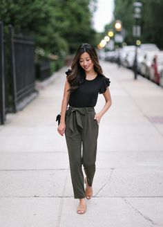 stylish summer - fall casual outfit ideas // tie waist ankle pants + ruffle tee (click the image for all item info!)