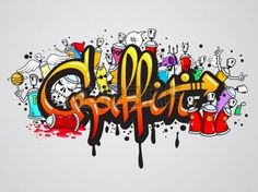 stencil graffiti: Decorative graffiti art spray paint letters and characters composition abstract wall artwork drawing sketch grunge vector illustration Illustration