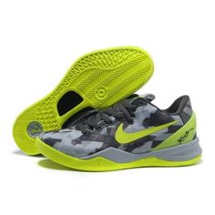 Nike Kobe 8 System Grey Fluorescent Green Basketball Shoes For Sale No Tax