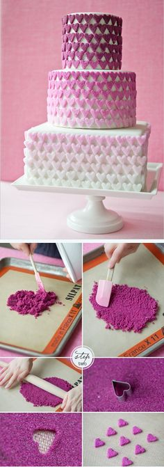 So pretty and fun! http://thecakebar.tumblr.com/post/19970242554/diy-ombre-sugar-heart-cake-tutorial