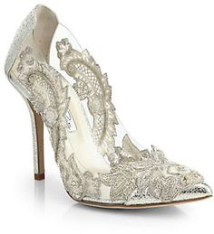 Oscar de la Renta Alyssa Beaded-Appliqué & Metallic Leather Pumps