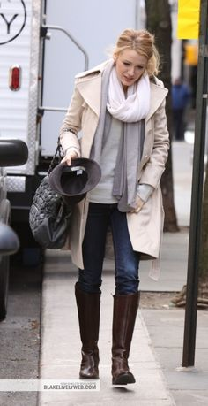 Blake Lively wearing Chanel Pleated Smocked Calfskin Bag in Grey Burberry Cotton Trench with Raglan Sleeves