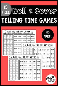 No Prep Telling Time Games: Roll & Cover - This Reading MamaYou can find Telling time and more on our website.No Prep Telling Time Games: Roll & Cover - This Reading Mama Telling Time Games, Telling Time Activities, Teaching Time, Teaching Math, Telling The Time, Telling Time In Spanish, Math Activities, Time Games For Kids, Math For Kids