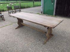 8ft Antique Oak Refectory Table - Jacobean Revival Oak Refectory Table With Tresle End Base