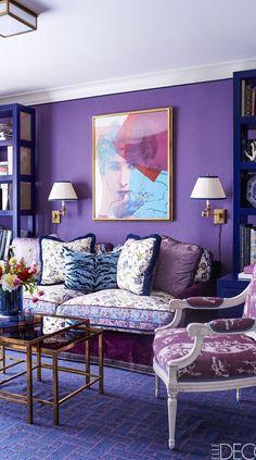 Interior Design: purple, blue, patterns and textures by Alex Papachristidis
