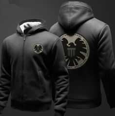 Mens Agents of S.H.I.E.L.D. hoodie thick fleece hooded sweatshirt for winter