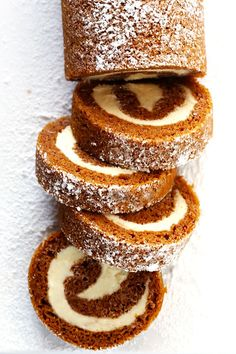 This classic pumpkin roll recipe is made with a delicious pumpkin cake and heavenly cream cheese filling…and it's surprisingly easy to make. Pumpkin Recipes, Fall Recipes, Sweet Recipes, Holiday Recipes, Best Thanksgiving Desserts, Autumn Desserts, Vegan Pumpkin, Delicious Recipes, Cake Roll Recipes