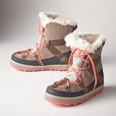 """Sorel GLACY EXPLORER SHORT BOOTS - Sundance Catalog - color Pepple -Easy to pull on après-anything boots, perfect for your everyday adventures. By Sorel®. Waterproof suede and canvas. Fleece lined. Rubber soles. Imported. Whole and half sizes 6 to 10, 11. 1"""" heel. $125. Love these!"""