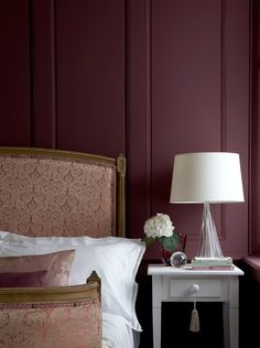 Schlafzimmer 2019 Marsala wine bedroom colors, modern bedroom decorated with dark red color Little Greene Paint, Little Greene Farbe, Peinture Little Greene, Burgundy Bedroom, Burgundy Walls, Bedroom Red, Aubergine Bedroom, Master Bedroom, Maroon Bedroom
