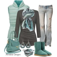 Winter relaxed comfy - Polyvore W/ BROWN BOOTS // DITCH THE BLUE SHOES!!!!