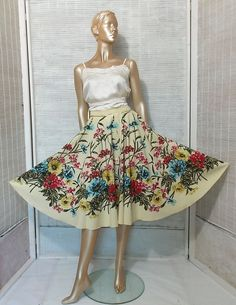 Floral circle skirt 90s does 50s mad men swing pin up by IuSshop
