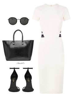 Her Style by aramarescobar on Polyvore featuring polyvore fashion style Victoria Beckham Yves Saint Laurent Linda Farrow clothing