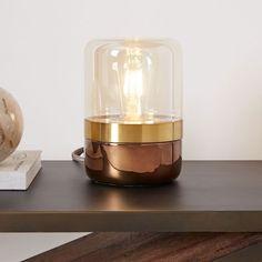 Mixed Material Table Lamp - Mini (Champagne/Brass/Espresso)