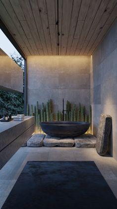 Modern Luxury Bathroom, Bathroom Design Luxury, Luxury Interior Design, Interior Architecture, Dream Home Design, Modern House Design, Interior Design And Psychology, Modern Tropical House, Villefranche Sur Mer