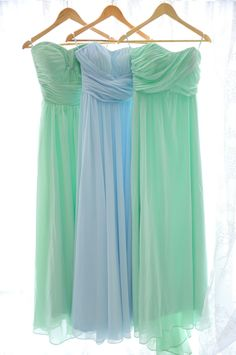 hanging long mint and sky blue bridesmaid dresses from real wedding
