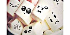 Marshmallows with faces!!! ^~^