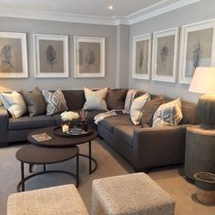 Large size of living sofa for small room decorating ideas with grey couch decor U Couch, Long Couch, Grey Couch Decor, Brown Couch Living Room, Living Room Ideas With Grey Sofa, Brown Sofa Grey Walls, Living Room Tables, Charcoal Sofa Living Room, Neutral Living Room Paint