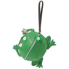 Betsey Johnson Kitsch MR Unfroggertable Wristlet ($58) ❤ liked on Polyvore featuring bags, handbags, clutches and green
