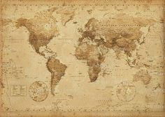 Framed World Map Vintage Dry Mount Poster Rust Wood Framed Perfect for Push Pins Or Tracking Trips
