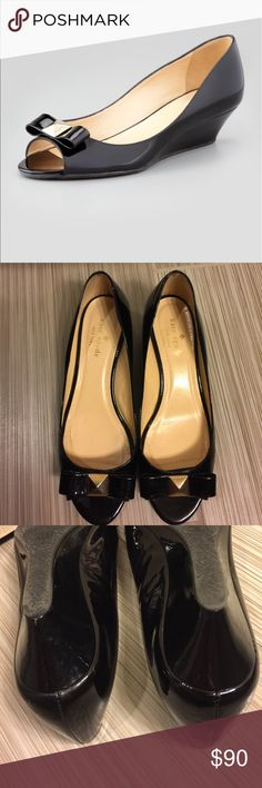kate spade tenor patent leather wedges sz 7 Pre-owned. Tiny scuff mark right heel side. Super clean kate spade Shoes Wedges