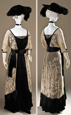 ~Dress, Callot Soeurs, 1910-1915. Linen lace and silk satin with silk-knotted fringe, tunic center back. Los Angeles County Museum of Art~