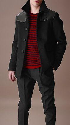 This donkey jacket by Burberry looks right but feels kinda wrong. Burberry Wool Felt Donkey Jacket