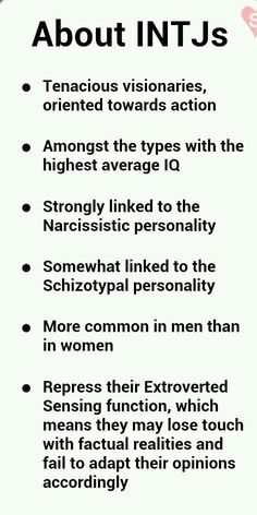 Proud Female INTJ (not only is INTJ an unusual type (only 4% in US), only .08% are women according to my therapist)